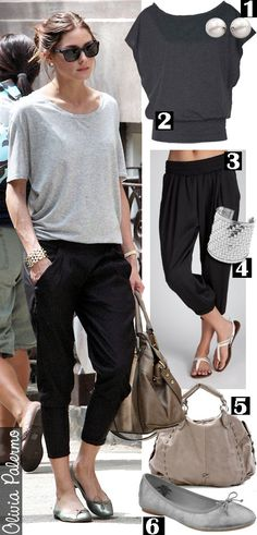 I am currently wearing the pants on the right. Comfiest things I have ever owned and easy to dress up!