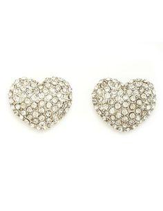Rhinestone Heart Stud Earrings: Charlotte Russe