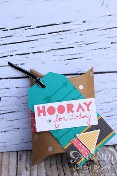 Geometrical Hooray for Today pillow box by Jeanna Bohanon