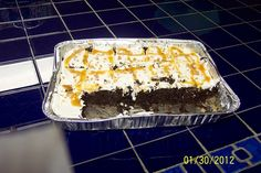 Default Heavenly Heath Bar Cake ~ 3 Points        Hi all,       I made this for Bunco today and it was a hit...an oldie but a goodie (I can't figure out how to pin yet, so I'm typing it in).        Heavenly Heath Bar Cake      Servings: 24      POINTS: 3        1 box Devil's Food Cake Mix      10 oz. Diet Cola      1 egg white      6 oz Fat-Free Caramel ice cream topping      7 oz Reduced-Fat or Fat-Free condensed milk      1 cup Heath Bar bits (found by the chocolate chips)      1 container ...