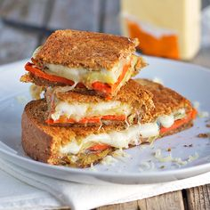 Three Cheese Roasted Vegetable Grilled Cheese - Pinch of Yum