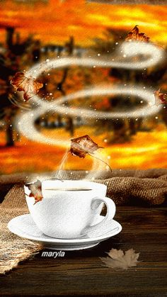 Animated steaming cup of coffee