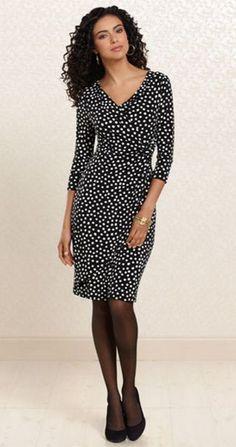 Sweet Dot: #Soma Side Twist Dress in Dot Print #SomaIntimates #black #white