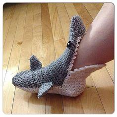 MADE TO ORDER Crochet Shark Slipper booties/ by CupCakeCutiesshop, $32.00