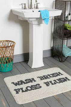 Brush/Floss Bath Mat - Urban Outfitters #uofave
