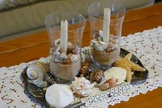 summer centerpieces, beach crafts, sea shell, candle holders, candles, seashell crafts, home decorations, summer decorating, craft ideas