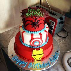 Spiderman, Captain America, Iron man cake iron man cake, birthday parti, parti idea, birthday cake, kid cakes