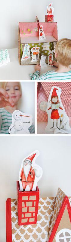 holiday, christmas crafts, christmas printables, gift tags, christmas paper, doll houses, kid, christma printabl, paper doll