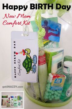 Happy BIRTH Day Kit - New Mom Comfort Kit - Hospital - Birthing Center Bag - getSNAZZY