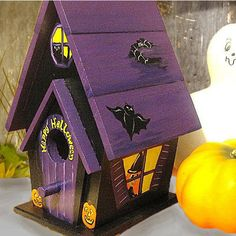 Halloween Hand Painted Birdhouse by PaintBrushedBoutique on Etsy