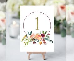 Floral Table Numbers Table Numbers for Wedding Table Number saved from Etsy - HeavenandFifthStudio