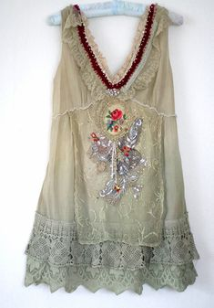 Love this - daydreamerdelicate romantic tunic textile collage by FleurBonheur