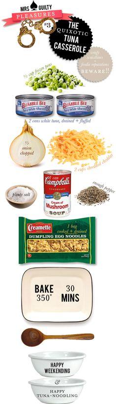 tuna casserole recipe - I would use Cream of Chicken soup- I HATE cream of mushroom soup and  add one more can of tuna.