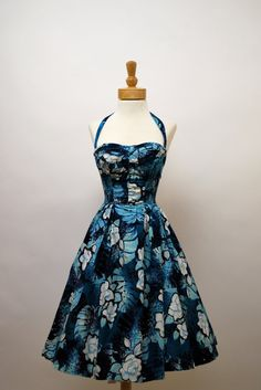 1950s Alfred Shaheen halter dress in shades of blue, black, and white (with detachable halter strap)