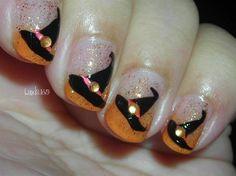 witch nail, halloween witches, witch hats, nail polish, holiday nails, nail arts, nail design, halloween nail art, halloween nails