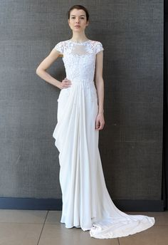 Floral Applique Cap Sleeve Wedding Dress | Temperley Bridal Iris Summer 2015 Collection | The Knot Blog