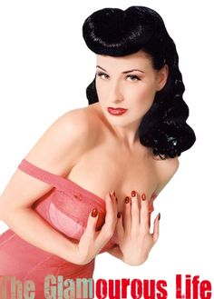 Pin-Up Girl Hairstyle #1- Rolled Bangs | The Glamourous Life: Celebrity Fashion, Hairstyles, Lifestyle and Gossip