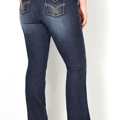 Rhinestone Flap Pocket Bootcut Jean (Dark Wash)-Plus Size Bootcut Jean-Avenue