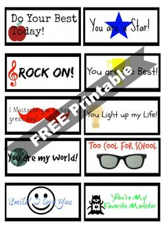 Free Back to School Printable Lunch Box Notes for Boys #printables #backtoschool #inspireothers