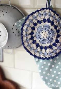 blue crochet potholder