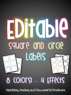 Editable Rainbow Circle and Square Labels