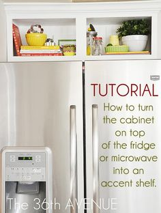 Kitchen Accent Cabinet Tutorial - the tiny cabinet above fridge, opened up, decorated
