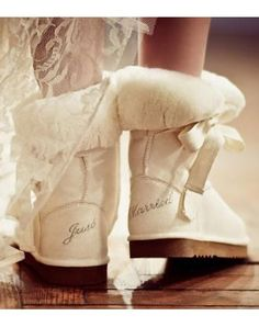receptions, getting married, brides, gifts, honeymoons, mornings, shoe, winter weddings, boots