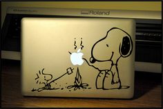 LAPTOP Decal/Sticker: Sometimes you have to sit at your computer, but you can still camp vicariously through Snoopy and Woodstock.