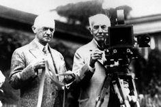 George Eastman (1854 – 1932) American innovator and entrepreneur founded the Eastman Kodak Company invented roll film, helping to bring photography to the mainstream. Eastman Kodak Co. founder George Eastman, left, and Thomas Edison pose with their inventions in a photograph taken in the late 1920s. Their contributions, Edison invented motion picture equipment and Kodak invented roll-film and the camera box, helped create the motion picture industry. ArtDaily Newsletter