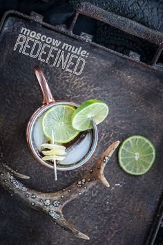 This reimagined Moscow Mule is made with fresh-squeezed lime juice, alcoholic ginger beer, candied ginger, and one secret ingredient!