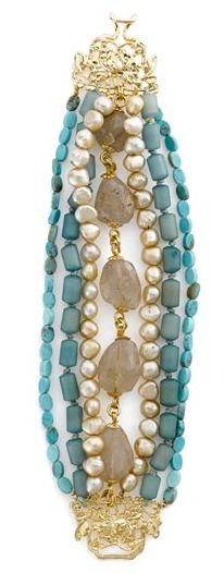 """Lines of cool blue Buri beads and turquoise mix with warm strands of pearl and rough-cut quartz in a dreamy bracelet handcrafted with a decorative clasp. Hook-and-bar closure. Approx. length: 8"""". Approx. width: 1 1/2"""". Pearl dimensions: 7x8mm. Bronze/gold plating/cultured freshwater gold pearls/quartz/turquoise/Buri beads."""