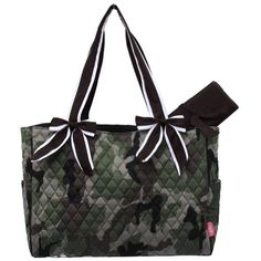 Camo Quilted W/white Stripe Diaper Bag-brown.