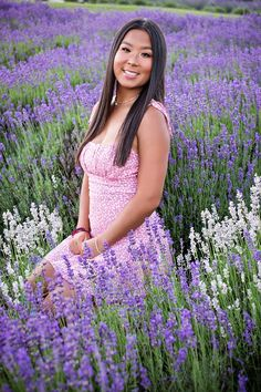 Dreamy senior portraits taken in the lavender fields in northern Michigan.