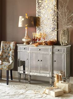 Have yourself a shimmery little Christmas with the Pier 1 Hayworth Buffet and Damask Panel
