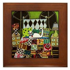 Framed Ceramic Tile - Cat Folk Art Tile Framed - white Cat on Crazy Quilt Bedspread Lime, red, orange - READY TO HANG. $45.00, via Etsy.