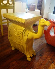 animal accent tables at lilly pulltzer have me giddy! how cute is the camel in yellow? #hpmkt