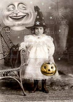 Art Print, Halloween Decorating - Little Star Catcher Izabella. Her mother made her wear that dress for Halloween. But she kept her little witch hat on anyway. :)
