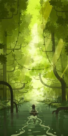 Jus goin to my happy place disney concept art, art illustrations, lui melo, animation, color, green, digital art, video games, river
