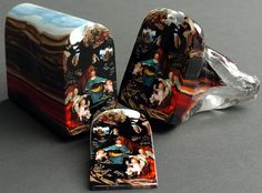 glass art, slice glass, artist, portrait, glass paint