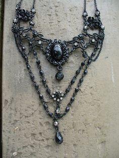 Victorian Style Black Lavalier Necklace by NativeGirl65 on Etsy, $75.00