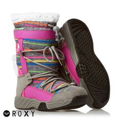 Womens Roxy Terry Snow Boots  Neon Pink