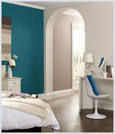 teal accent wall with light gray walls