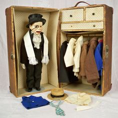 1930s Effanbee Charlie McCarthy 16 inch with Trunk, 25 piece wardrobe, 6 Vintage Hangers