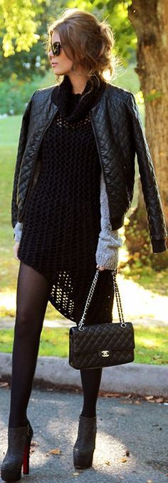 Black #Louboutin Ankle Boots, Black Sweater and black jacket!
