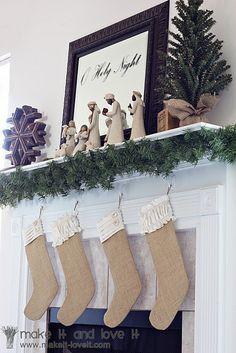 Burlap stocking tutorial... Wish I had the willow tree nativity set