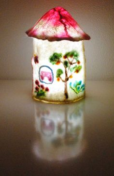Felted fabulous fairy / Gnome House, waldorf Inspired Home Decor lamp shade - violet pink felt doll decorating a child's room, custom