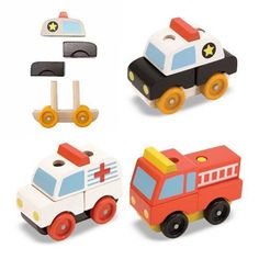 Emergency vehicles gift, wood stack, doug toy, toddler toys, police cars, wooden toys, emerg vehicl, stack emerg, wooden vehicl