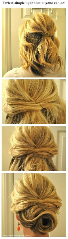 Perfect simple updo that anyone can do! | hairstyles tutorial short hair, beauty tutorials, shorter hair, hair tutorials, diy hair, bridesmaid hair, hairstyle tutorials, girl hairstyles, updo