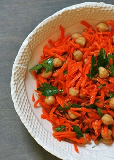 Spicy Carrot Salad with Chickpeas and Parsley.