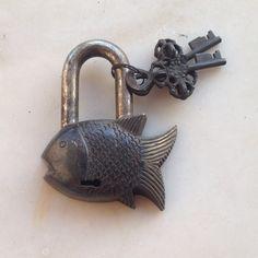 CARVED BRASS LOCK OLD ANTIQUE FISH PADLOCK